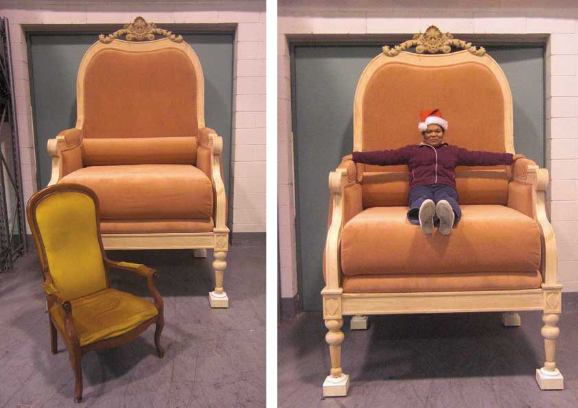 Imbottitura e rivestimento sedia gigante