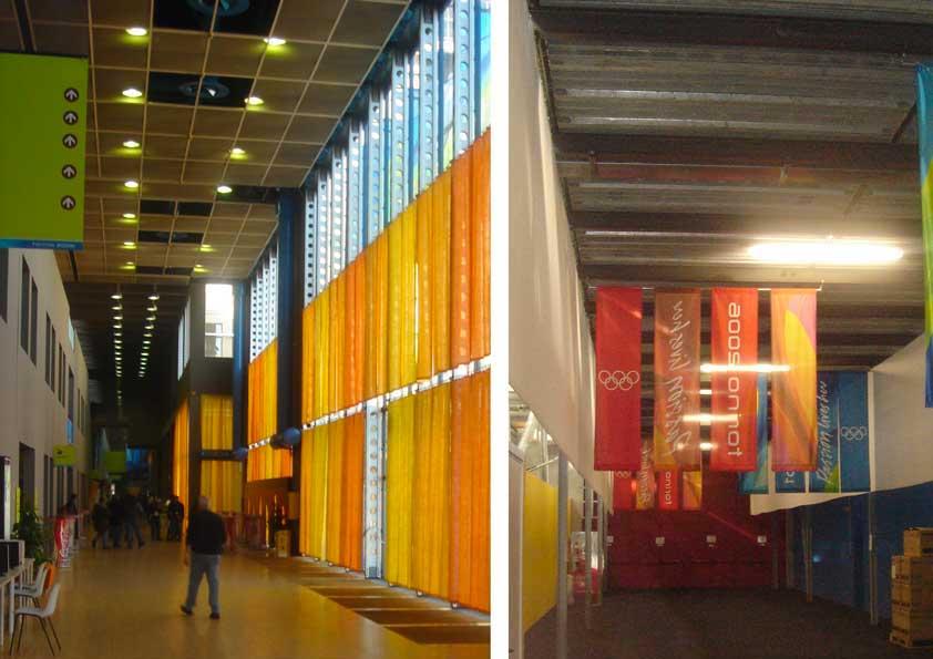 Olimpiadi invernali Torino - tende in juta colorata