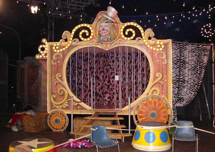 Allestimento Zelig Circus - fondali, tendaggi e tele varie
